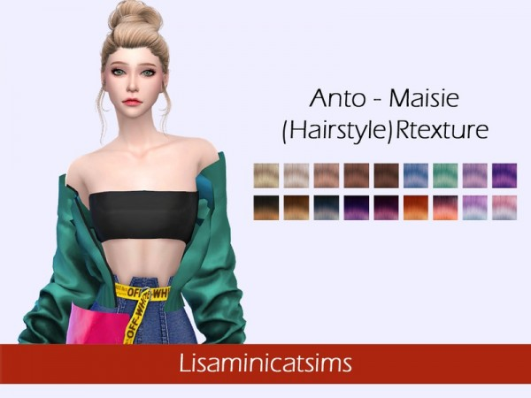 TOK SIK: Anto`s Maisie hair retextured by Lisaminicatsims for Sims 4