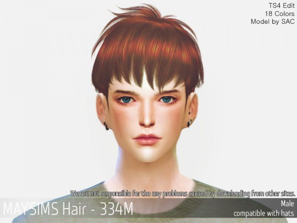 MAY Sims: MAY 334M hair retextured for Sims 4