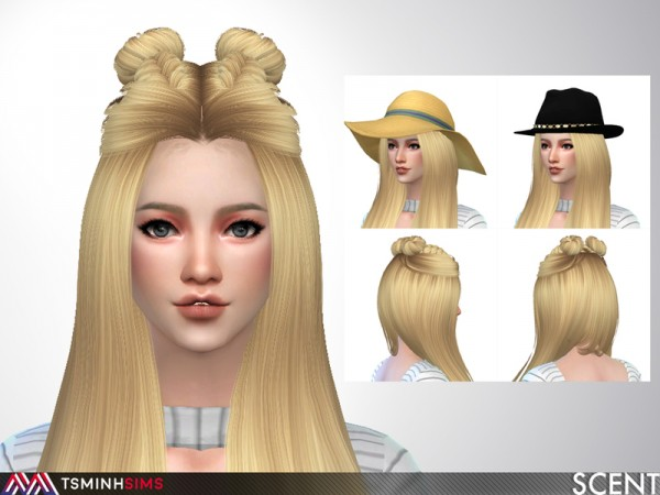 The Sims Resource: Scent Hair 62 by TsminhSims for Sims 4