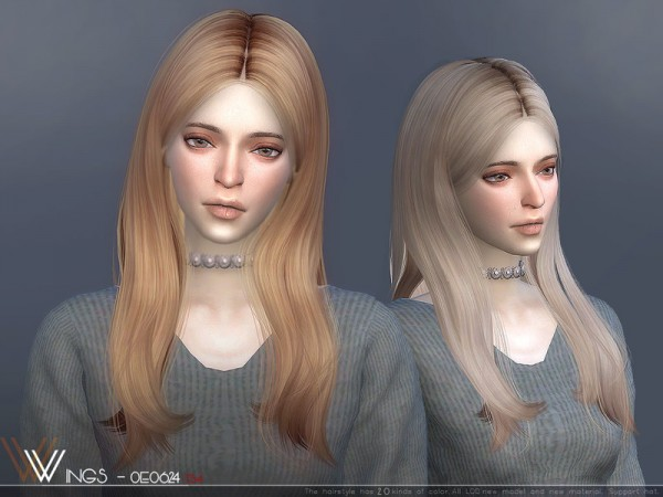 The Sims Resource: WINGS OE0624 hair for Sims 4