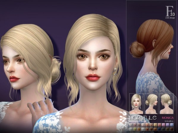 The Sims Resource: Monica n33 hair by S Club for Sims 4