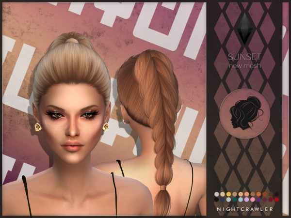 The Sims Resource: Sunset hair by Nightcrawler for Sims 4