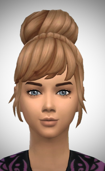 Birksches sims blog: High Bun Bowand No Bow hair for Sims 4