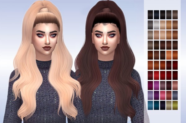 Frost Sims 4: LeahLillith`s Amirah Hair retextured for Sims 4