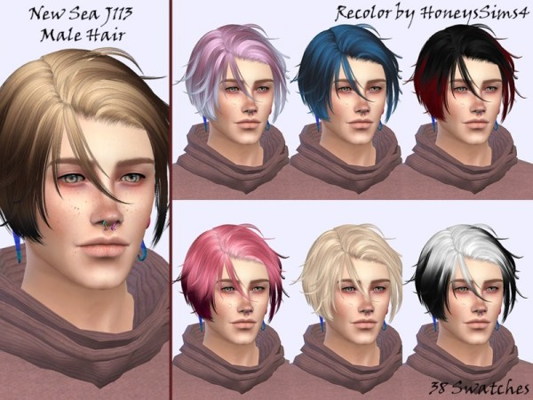 The Sims Resource: NewSea`s J113 hair recolored by Skraja for Sims 4
