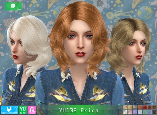 NewSea: Yu133 Erica hair for Sims 4