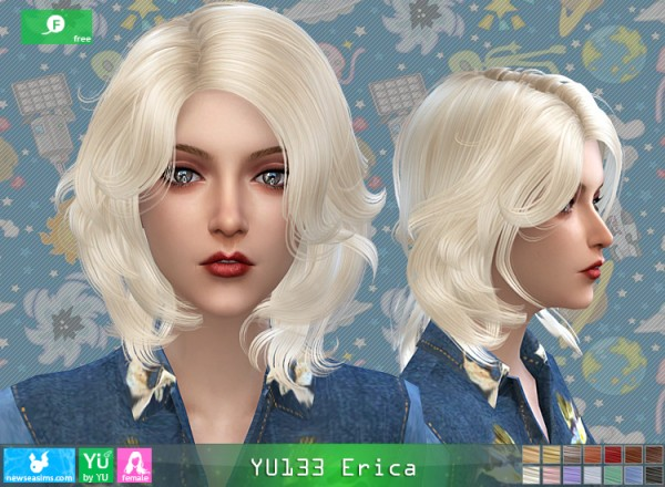 NewSea: Yu133 Erica hair for Sims 4
