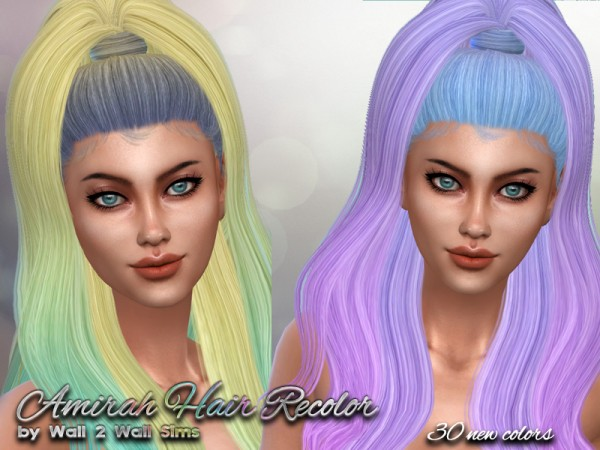 The Sims Resource: Amirah Hair Recolored by Wall2WallSims for Sims 4