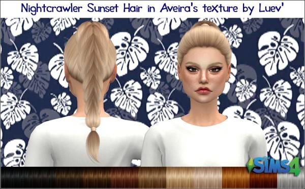 Mertiuza: Nightcrawler`s Sunset Hair Retextured for Sims 4