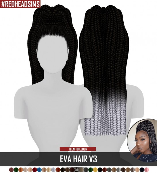 Coupure Electrique: Eva hair 3 versions for Sims 4