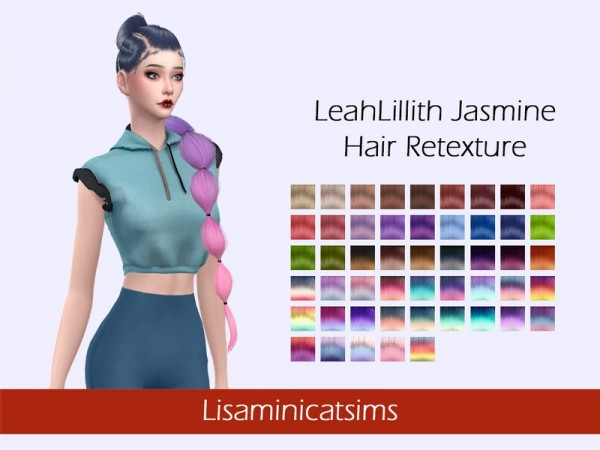 The Sims Resource: LeahLillith`s Jasmine Hair Retextured by Lisaminicatsims for Sims 4