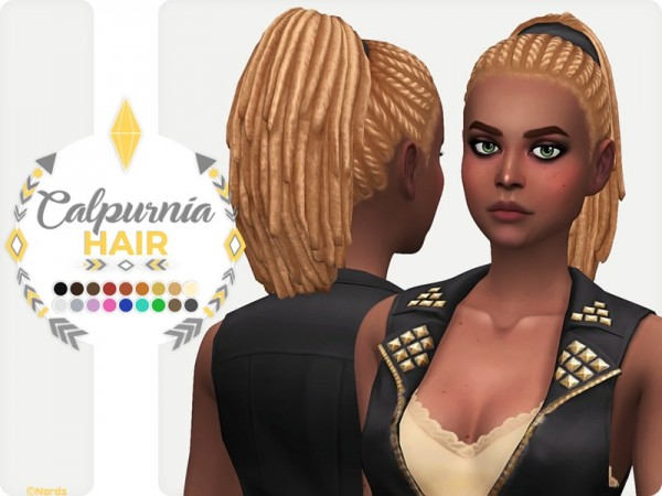 The Sims Resource: Calpurnia Hair retextured by Nords for Sims 4
