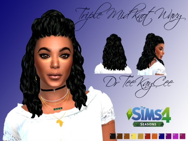 The Sims Resource: Triple Midknot Wavy hair retextured by drteekaycee for Sims 4