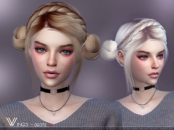 The Sims Resource: WINGS OE0726 hair for Sims 4