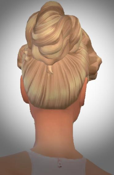 Birksches sims blog: Wavy Hair Line Bun for Sims 4