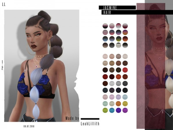The Sims Resource: Jasmine Hair by LeahLillith for Sims 4