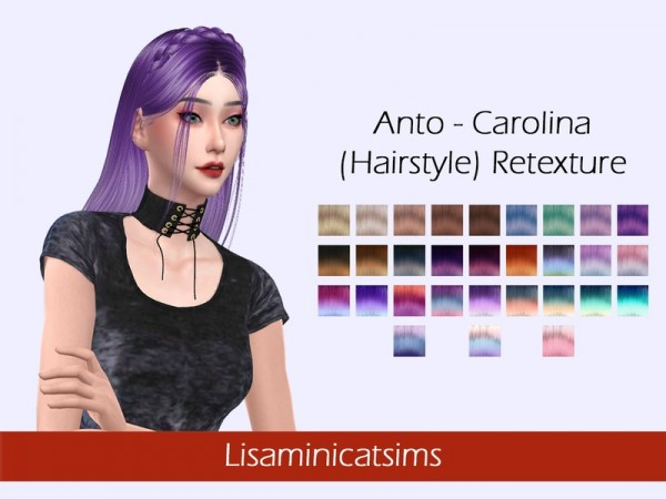 The Sims Resource: Anto`s Carolina hair retextured by Lisaminicatsims for Sims 4