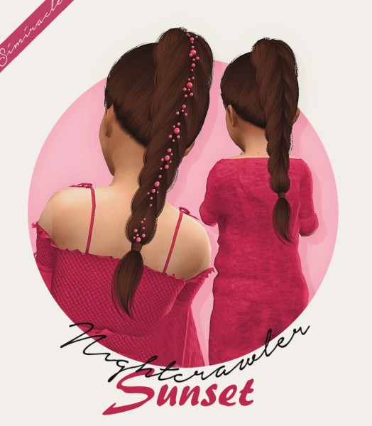 Simiracle: Nightcrawler`s Sunset Hair Retextured for Sims 4