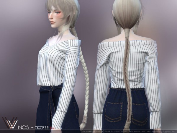 The Sims Resource: WINGS OE0722 hair for Sims 4