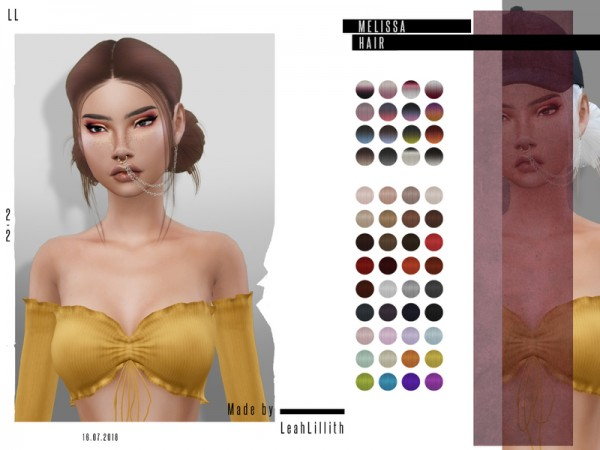 The Sims Resource: Melissa Hair by Leah Lillith for Sims 4