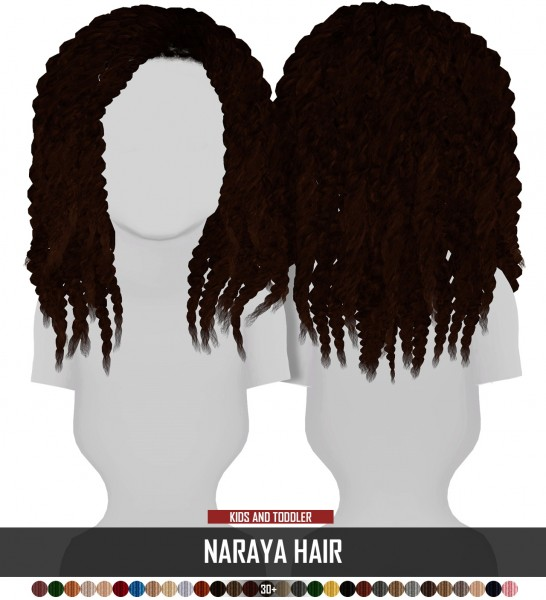 Coupure Electrique: Naraya hair retextured   kids and toddlers version for Sims 4