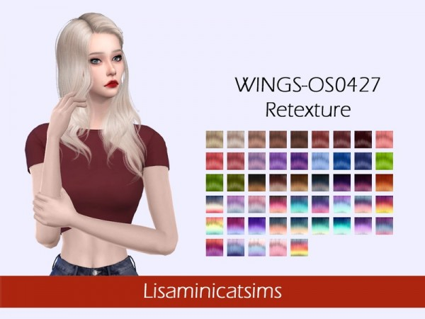 The Sims Resource: WINGS OS0427 Hair Retextured by Lisaminicatsims for Sims 4