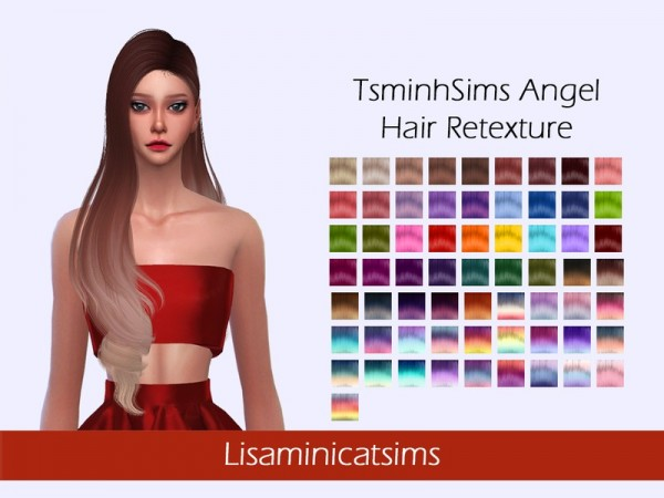The Sims Resource: Tsminh`s Angel Hair Retextured by Lisaminicatsims for Sims 4