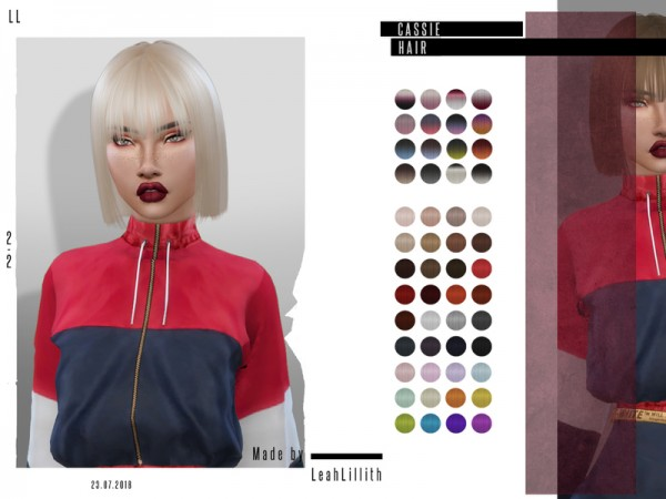 The Sims Resource: Cassie Hair by Leah Lillith for Sims 4