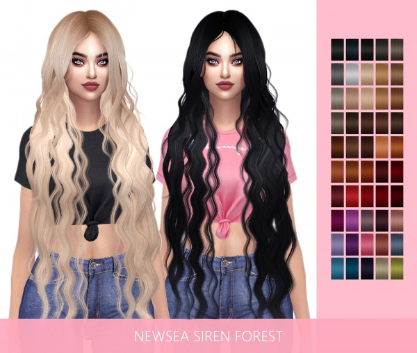 Frost Sims 4: Newsea`s Siren Forest hair retextured for Sims 4