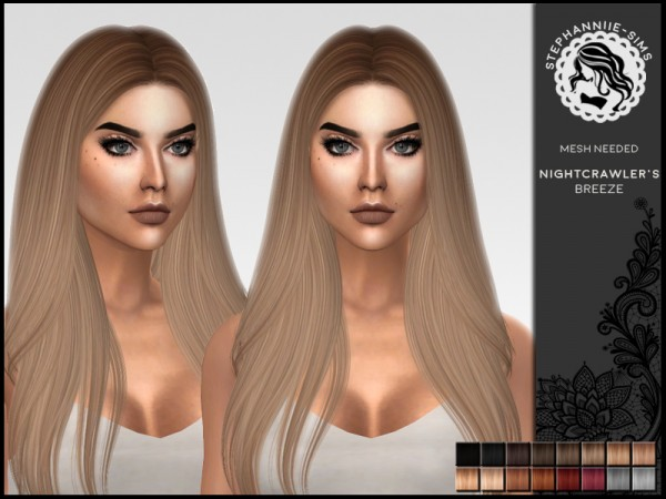 The Sims Resource: Nightcrawler`s Breeze Hair Retextured by Stephanniie Sims for Sims 4