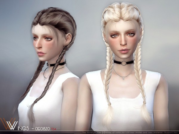 The Sims Resource: WINGS OE0820 hair for Sims 4
