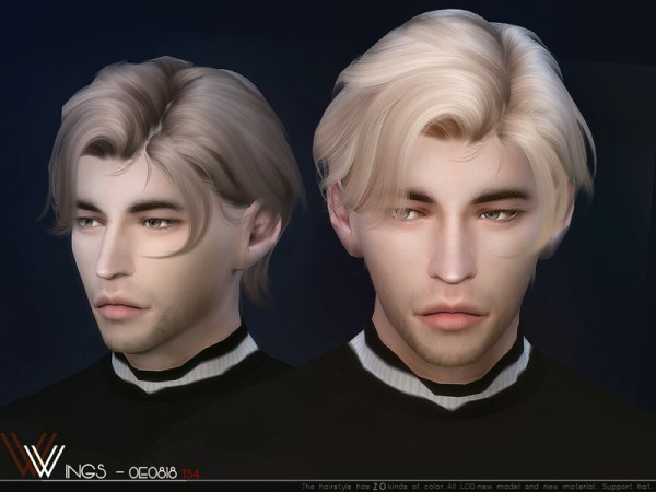 The Sims Resource: WINGS OE0818 hair for Sims 4
