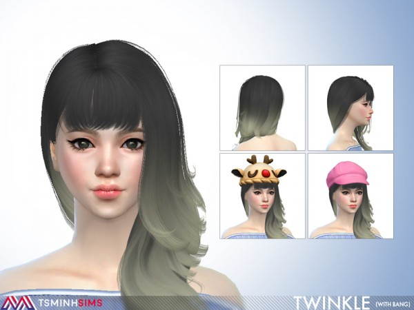 The Sims Resource: Twinkle Hair 65 with bang by for Sims 4