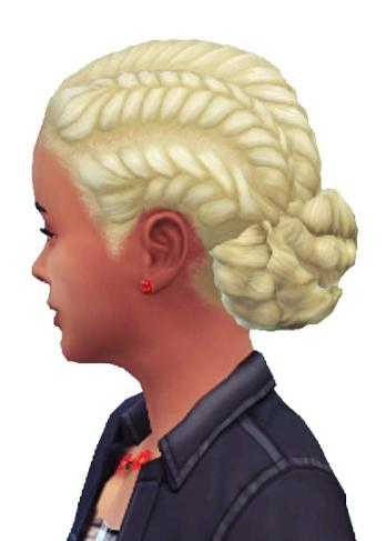 Birksches sims blog: Girl's Pull Back Braids hair retextured for Sims 4