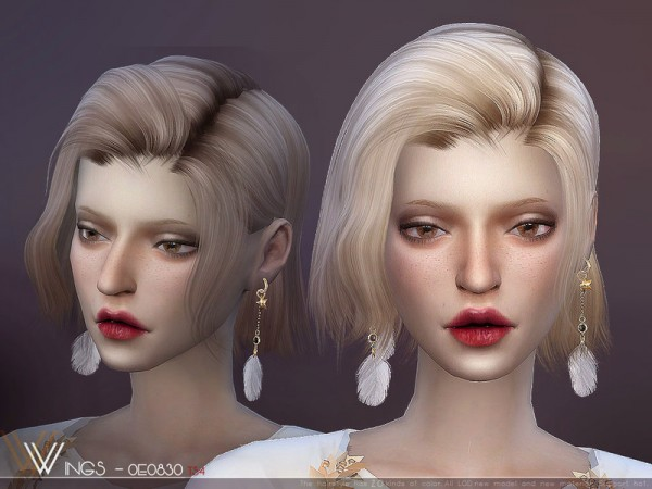 The Sims Resource: WINGS OE0830 hair for Sims 4