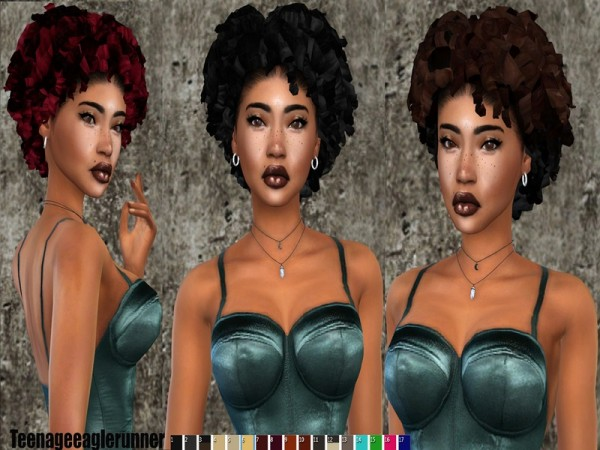 The Sims Resource: Currll Hair retextured by Teenageeaglerunner for Sims 4
