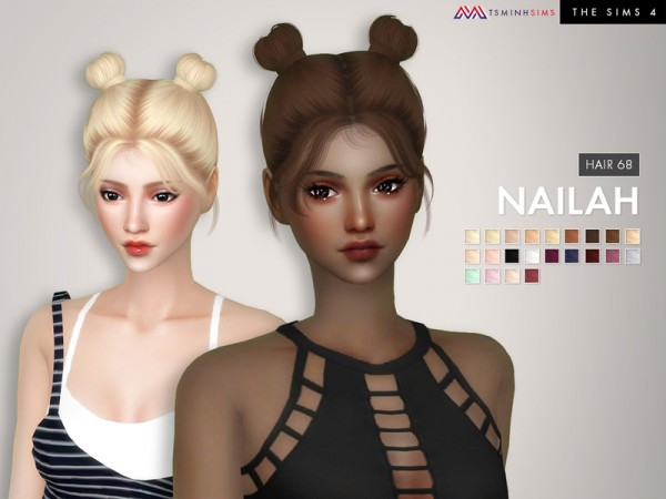 The Sims Resource: Nailah Hair 68 by Tsminh for Sims 4