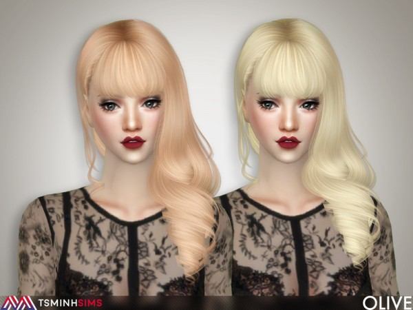 The Sims Resource: Olive Hair 66 by TsminhSims for Sims 4