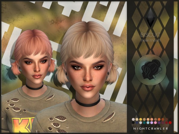 The Sims Resource: Biscuit hair by Nightcrawler Sims for Sims 4