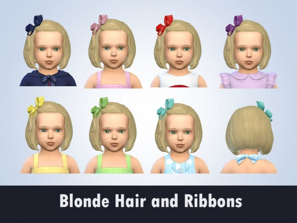 The Sims Resource: Blonde Hair and Ribbons recolored by kitty.e for Sims 4