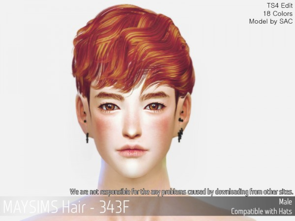 MAY Sims: MAY343M hair retextured for Sims 4
