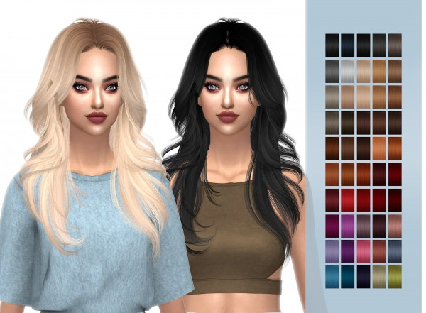 Frost Sims 4: HallowSims Melt Away hair retextured for Sims 4