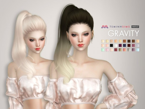 The Sims Resource: Gravity Hair 67 for Sims 4