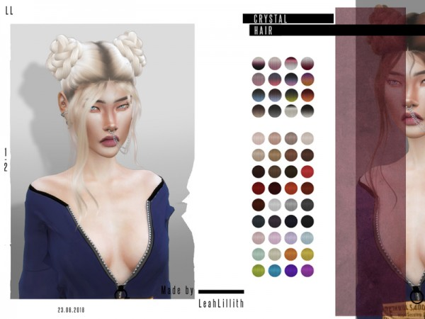 The Sims Resource: Crystal Hair by for Sims 4