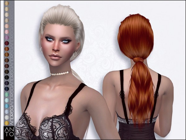 The Sims Resource: Andrea hair by Anto for Sims 4