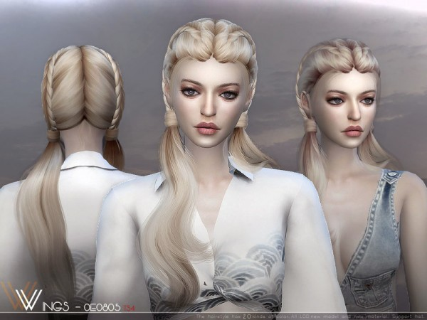 The Sims Resource: WINGS OE0805 hair for Sims 4