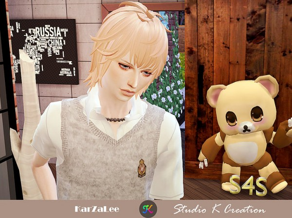 Studio K Creation: Animate hair 95 Zen for Sims 4