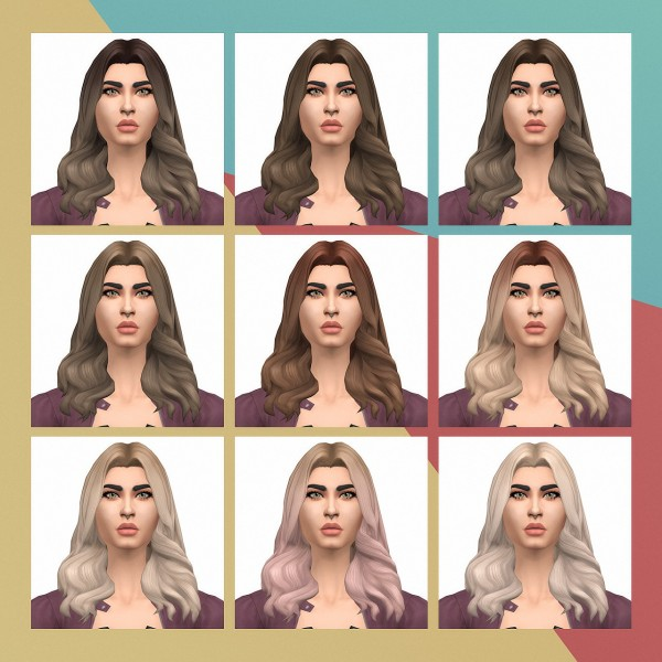 Busted Pixels: Long Wavy v1 hair retextured for Sims 4