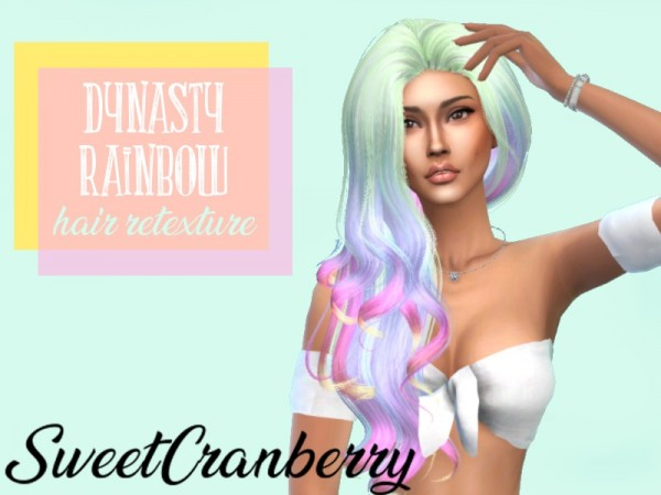 The Sims Resource: Antos Dynasty Pastel Rainbow hair retextured by SweetCranberry for Sims 4