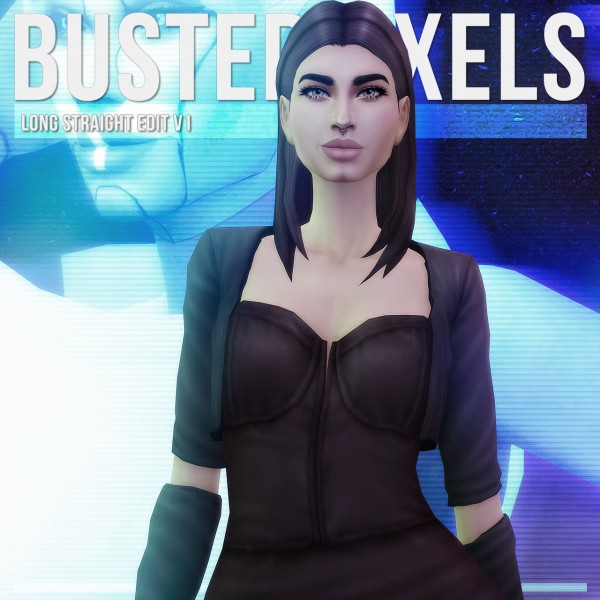 Busted Pixels: Long Straight v1 hair retextured for Sims 4